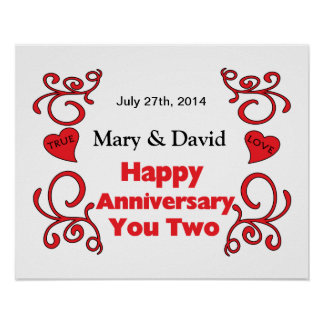Red Scrolls & Heart Names & Date Happy Anniversary Poster