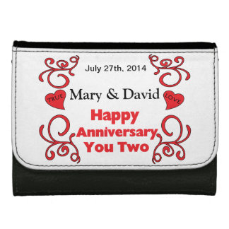 Red Scrolls Heart Names Date Happy Anniversary Wallet