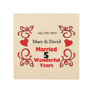 Red Scrolls & Hearts Names & Date 5 Yr Anniversary Wood Print