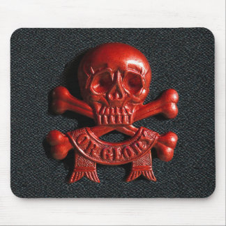 Red scull and cross bones mouse pad