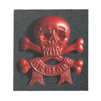 Red scull and cross bones memo pad