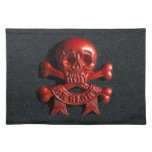 Red scull and cross bones place mat