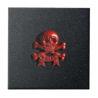 Red scull and cross bones ceramic tile