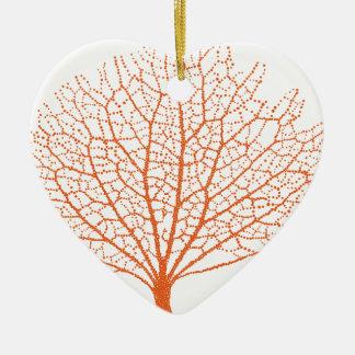 red sea fan coral silhouette ceramic ornament