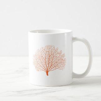 red sea fan coral silhouette coffee mug