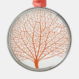 red sea fan coral silhouette metal ornament