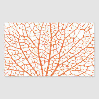 red sea fan coral silhouette rectangular sticker