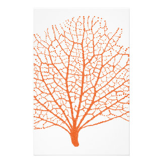 red sea fan coral silhouette stationery