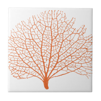 red sea fan coral silhouette tiles