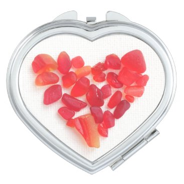 Beach Themed Red sea glass heart mirror! Love from the Sea... Compact Mirror