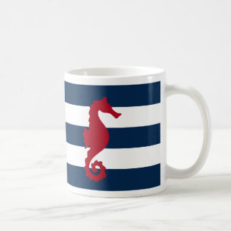 Red Sea horse Navy blue stripes nautical mug