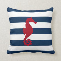 Red Sea horse Navy blue stripes nautical pillow