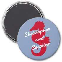 Red Sea Horse Personalized Stateroom Door Marker Magnet