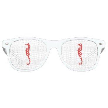 Beach Themed Red Sea Horse Retro Sunglasses