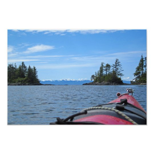 Red Sea Kayak & Alaska Mountain Range Photo Print