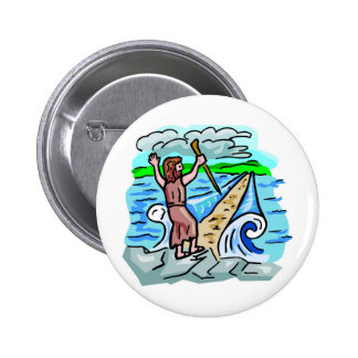 Red Sea parting Christian artwork Pinback Buttons