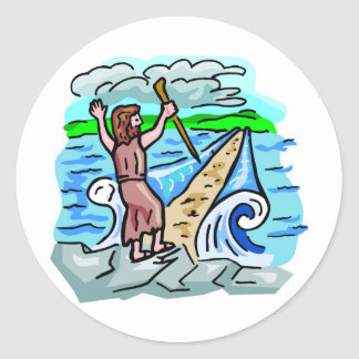 Red Sea parting Christian artwork Classic Round Sticker