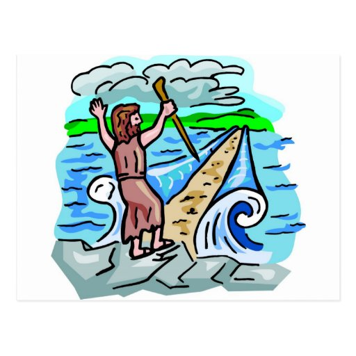Red Sea parting Christian artwork Postcards