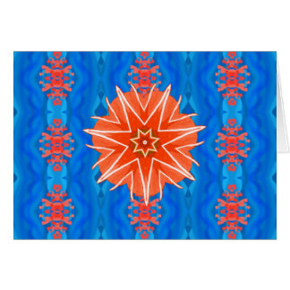 Red sea star in blue card