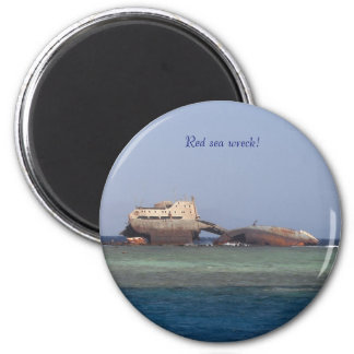 Red sea wreck. 2 inch round magnet
