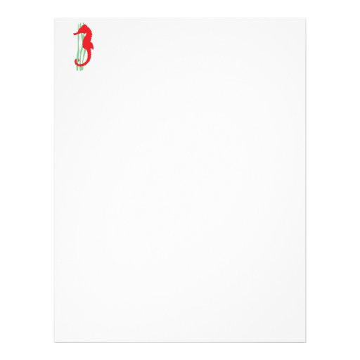 Red Seahorse with Sea Grass Letterhead
