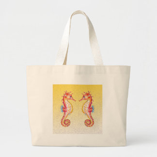 red seahorse yellow large tote bag