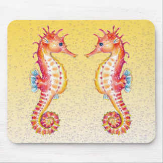red seahorse yellow mouse pad