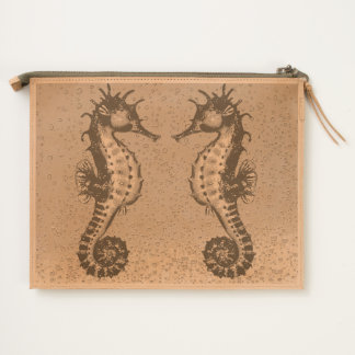 red seahorse yellow travel pouch