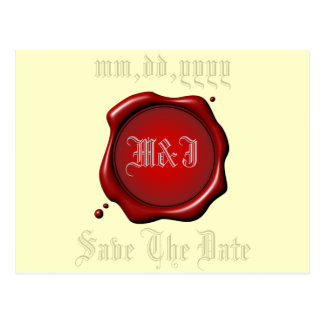 Red Seal Save The Date Postcard Template