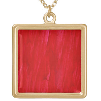 Red Seamless Background Abstract And Watercolor Square Pendant Necklace