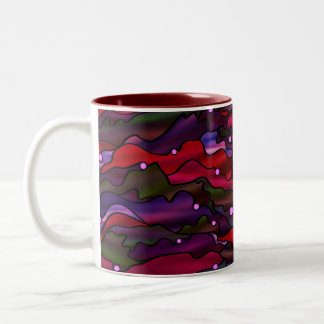 Red Seascape Abstract Two-Tone Coffee Mug