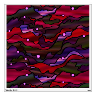 Red Seascape Stained Glass Abstract Wall Sticker