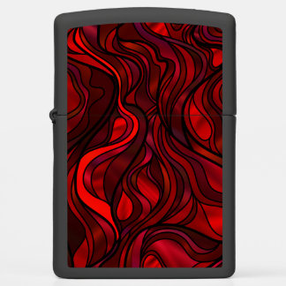 Red Seascape Stained Glass Style Zippo Lighter
