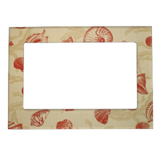 Red Seashells on Tan Magnetic Picture Frame
