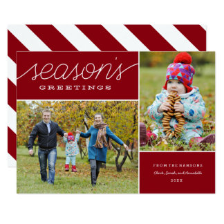 """Red """"Season's Greetings"""" Two Photo Holiday Card"""