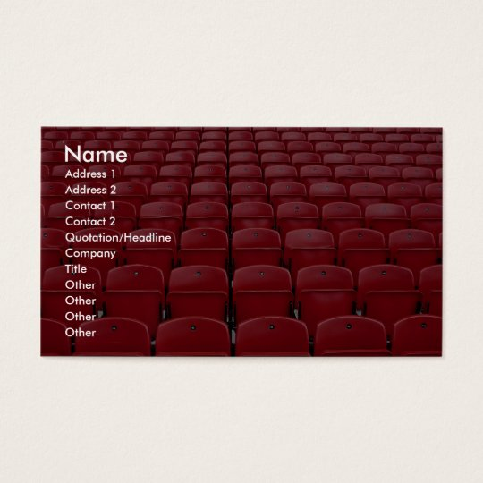 Red seats at football stadium business card