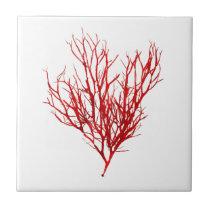 Red Seaweed Art No.10 Beach theme Decor Ceramic Tile