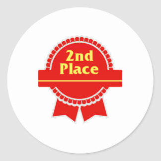 Red Second Place Ribbon Classic Round Sticker
