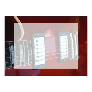 Red semi hollow guitar picture of strings, pickups 5x7 paper invitation card