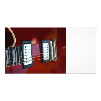 Red semi hollow guitar picture of strings, pickups photo cards