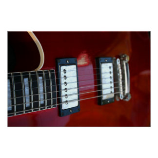 Red semi hollow guitar picture of strings, pickups poster