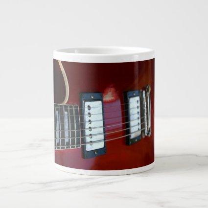 Red semi hollow guitar picture of strings, pickups 20 oz large ceramic coffee mug