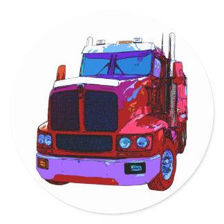 Red Semi Truck Classic Round Sticker