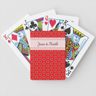 Red & Sepia flowery pattern Bicycle Playing Cards