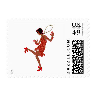 red sequin black flapper postage postal stamps