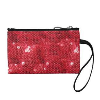 Red Sequin Image  Background Coin Wallet