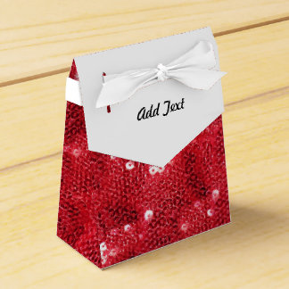Red Sequin Image Background Favor Boxes