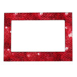 Red Sequin Image  Background Magnetic Photo Frames