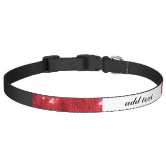 Red Sequin Image Background Pet Collars