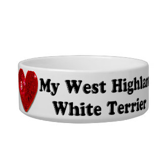 Red Sequin Image West Highland White Terrier Bowl Pet Food Bowl